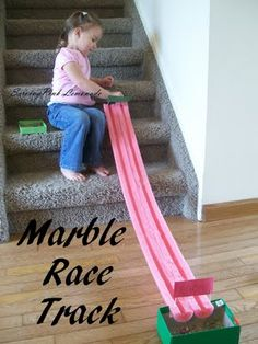 Pool Noodle Marble Racetrack  ~ My kids love this activity. They will race marbles for hours. It's a perfect indoor activity for a rainy day or can be taken outside so you can enjoy some sunshine.