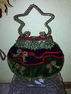 Mary Frances Holiday Christmas Tree Star Handles Handbag Purse Evening Bag NR!