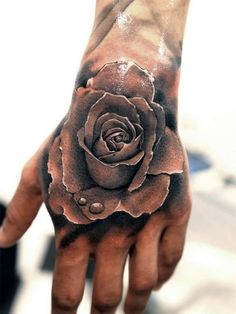 Cool Realistic Rose Mens Hand Tattoo With Shaded Design