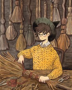 Print of artwork by Heikala. Illustration of a young wizard making a broom. Great as wall art for kids' room. Art And Illustration, Art Illustrations, Kunst Inspo, Art Inspo, Pretty Art, Cute Art, Character Inspiration, Character Art, Arte Obscura