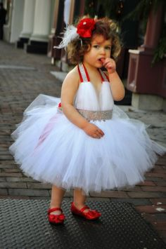 Vintage Glam - Marilyn Monroe style Tutu Dress, Flower Girl Dress, Winter Wedding, White Tutu Dress, Halter Dress with rhinestone BLING on Etsy, $72.00