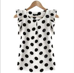 Fashion-Women-Casual-Chiffon-Polka-Dot-Blouse-Short-Sleeve-Shirt-Summer-Tops