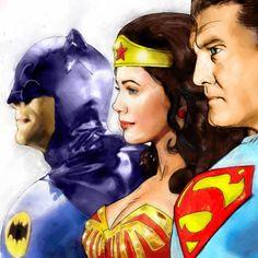 Adam West Batman, Batman Robin, Superman Art, Superman Stuff, Comic Pictures, Comic Pics, George Reeves, Linda Carter, Justice Society Of America