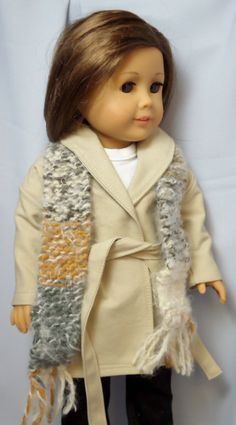 American Girl Doll Clothes Khaki Wrap Around Coat and Scarf