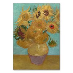 Vase with 12 Sunflowers by Vincent Van Gogh Table Cards