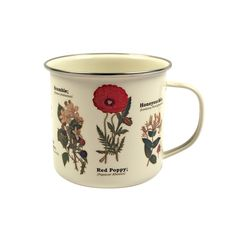 If you're wild about flora, you'll love this Botanix Enamel Mug. Learn the accurate species names of some of your favorite floral plants, arranged artfully around the sides of this beautiful enamel mug...  Find the Botanix Enamel Mug, as seen in the #Industrial-Botanicals Collection at http://dotandbo.com/collections/industrial-botanicals?utm_source=pinterest&utm_medium=organic&db_sku=106170