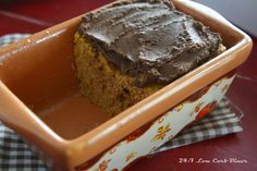 24/7 Low Carb Diner: Pumpkin Fudge Mini Loaf. That fudgy frosting is made from unsweetened chocolate and pumpkin puree. Add your own sweetener and make it sugarfree! #glutenfree, #sugarfree, #lowcarb