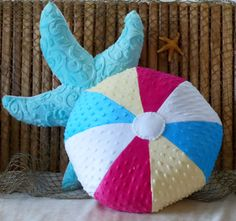 Beach ball pillow, minky dot beach ball, colorful beach ball, beach pillows, fun pillow,seashore pillow, coastal living pillow,nautical deco - pinned by pin4etsy.com