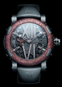 Romain Jerome. Steampunk Auto 100th Anniversary with metal plating taken from the sunken 'Titanic' used in the housing and seconds indicator.
