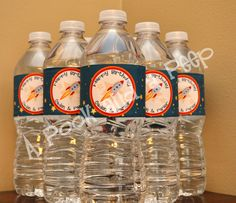 Personalized Outer Space Rocket Ship Birthday Water Bottle and Favor Labels