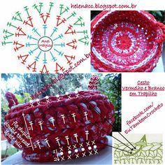 EU TAMBÉM CROCHETO...: Tapete e Cesto Vermelho e Branco em Trapilho Cotton Cord, T Shirt Yarn, Hobbies And Crafts, Crochet Yarn, Crochet Patterns, Crochet Baskets, Bag, Decor, Bread Baskets