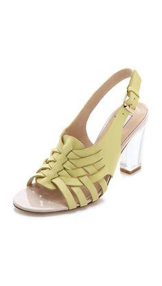 Diane von Furstenberg Taite Lucite Heel Sandals - Pricey but so cute!