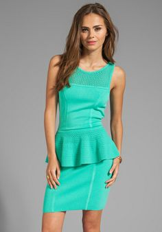 MILLY May Knits Nicole Peplum Dress in Aqua - Dresses