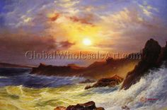 Frederic Edwin Church - A Coast Scene, Mount Desert - Oil Paintings on Canvas