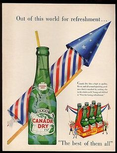 1951 Canada Dry ginger ale big bottle and July 4th rocket art vintage print ad