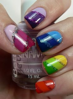 Rainbow nails. But I'd like just 1 color on all my nails--love the diagonal shaded stripes