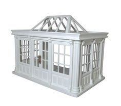 Deluxe Conservatory White 1:12 Scale for Dolls House Ready assembled Open backed Glazing kit included. Double opening door. Dimensions: Height: 260mm Width: 350mm Depth: 220mm
