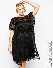 ASOS CURVE Exclusive Kimono Dress In Floral Print