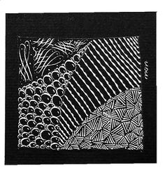 We taught Zentangle to about 200 lettering artists from around the world. We broke our own rules a bit and had folks create tangles with oblique pointed dip pens using white ink on black paper. We used pencils or white soapstone to draw our strings.