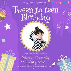 Customize this design with your video, photos and text. Easy to use online tools with thousands of stock photos, clipart and effects. Free downloads, great for printing and sharing online. Instagram Post. Tags: 13th birthday invitations boy, 13th birthday invitations free templates, 13th birthday invitations girl, teen birthday invites, teenage birthday invitation, tween birthday invitations, Birthday , Birthday Invitation