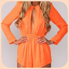 HP NWT Sassy Chic Bright Orange Romper/Jumpsuit HP 4/10/16! Spring Style Party! This is stunning! The color Is absolutely gorgeous! And it is very comfortable! Armpit to armpit 18 inches! 29 inches long! Sleeves 18 inches shoulder to hem! Super cute romper! Chosen by @bebe70024 please check out her amazing closet!  Boutique Dresses Mini