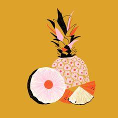 Pineapple, art deco, color-block print modern art art in 201 Art And Illustration, Pineapple Illustration, Invisible Creature, Motif Art Deco, Design Poster, Motif Floral, Fruit Art, Fine Art Paper, Art Inspo