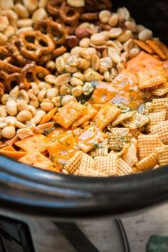 Ranch Slow Cooker Chex Mix Every party needs something sweet, something salty, something light and something indulgent. This ranch slow cooker chex mix is both salty and addicting! Slow Cooker Recipes, Crockpot Recipes, Cooking Recipes, Crockpot Dishes, Homemade Chex Mix, Snack Mix Recipes, Snack Mixes, Chex Recipes, Recipies