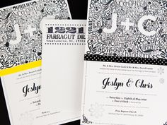 Foil stamped and rubber stamped invitation. #weddingmonth #typography