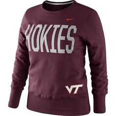 Nike Virginia Tech Hokies Women's Classic Fleece Crew Small