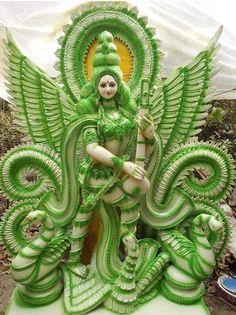 Saraswati Murti, Saraswati Goddess, Durga Maa, Shiva Shakti, Shri Ganesh Images, Durga Images, Lakshmi Images, Radha Krishna Images, Maa Image