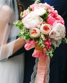 pink peony, garden rose and ranunculus bouquet by Blush & Bloom