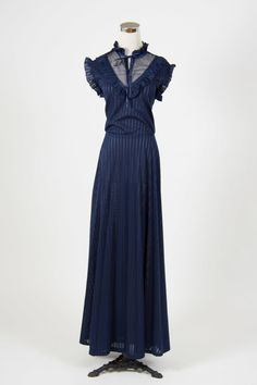 Of the night dress | Little Wing Vintage - dark navy 1970s victoriana lace neck maxi dress