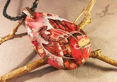 Red mountain dragon - Stone painting necklace