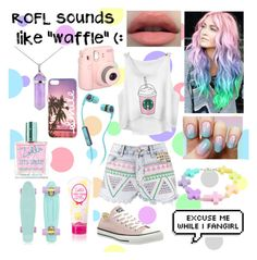 """""""Pastel"""" by youtube-crazy ❤ liked on Polyvore featuring Boohoo, Skullcandy, Lord & Taylor, Converse and pastel"""