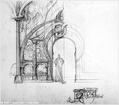 Sketch for the front of Elrond's house in Rivendell made by John Howe.