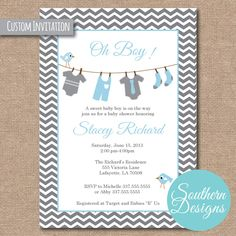Baby Shower Invitation by VictoriaWardDesign on Etsy Custom Invitations, Baby Shower Invitations, Babyshower Invites, Baby Decor, Christening, Event Planning, Rsvp, Baby Dolls, Baby Boy