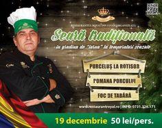 Restaurantul Royal din Lugoj organizează în data de 19 decembrie 2015 o seară tradiţională în aer liber, la temperaturi scăzute, în grădina de iarnă a restaurantului. Pe lângă purceluşul la rotisor, pomana porcului şi un foc de tabără, organizatorii au pregătit şi multe surprize. Pentru cei interesaţi de această idee inedită, trebuie să spunem că participarea costă doar 50 de lei de persoană. Informaţii suplimentare se pot obţine la telefonul 0731.326.171 sau pe pagina de internet a…