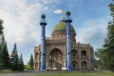 3D rendition of the First Baha'i House of Worship in Ishqabad , Turkmenistan.