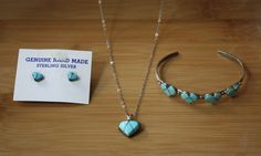 Sterling Silver and Turquoise Heart Necklace, Bracelet, and Earring Set - Native American Jewelry on Etsy, $45.00