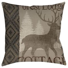 Beautiful art by Mimi Design Studio creates a lodge themed design in neutral earth tones for this printed pillow.