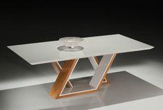 Mesa de jantar Medusa - Tampo 160 cm Laca Branca / Carvalho Mel | Universum | Movelaria
