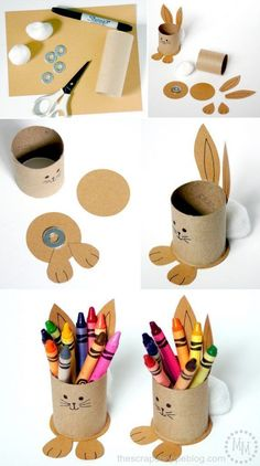 Upcycled Bunny Crayon Holders for the Easter kids' table! - Upcycled Bunny Crayon Holders for the Easter kids' table! Upcycled Bunny Crayon Holders for the E - Spring Crafts, Holiday Crafts, Fun Crafts, Decor Crafts, Party Crafts, Halloween Crafts, Easter Crafts For Kids, Diy For Kids, Easter Dyi