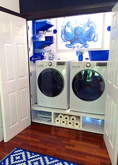 A laundry room setup that actually makes doing laundry look inviting! Wall Control Blue Metal Pegboard is utilized here to help organize clothes hangers, detergent, and other helpful laundry supplies right where you need it most, an arm's reach away. Thanks for the great customer submission Rachel!