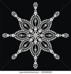 Christmas snowflake crystal precious. Beautiful jewelry, medallion, brooch, decoration on neck, mandala, frame. Fashion pattern brilliant stones, silver applique rhinestones, jeweler - stock vector  - stock vector