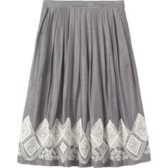 EMBROIDERED PLEAT SKIRT ❤ liked on Polyvore featuring skirts, knee length pleated skirt, pleated skirt, pocket skirt and embroidered skirt