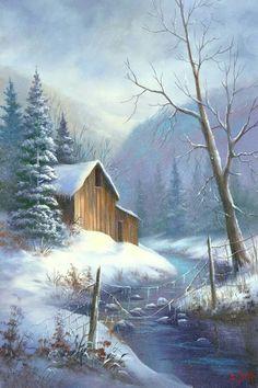 Barn Pictures, Winter Pictures, Pictures To Paint, Watercolor Landscape, Landscape Art, Landscape Paintings, Watercolor Paintings, Winter Painting, Winter Art