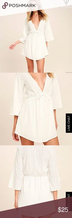 Lulu's Eyelet Coverup Adorable cover up that can also be worn as a dress. Only worn once for my bachelorette party. Perfect condition. Lulu's Swim Coverups