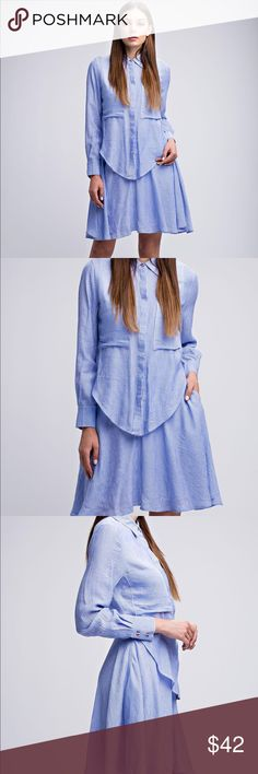 Blue and white stripped shirtdress 🦋 Product Details: •Blue and White Stripes  •Double Layered Shirt Dress •Front tie or able to wear without (as shown in pictures) Dresses Mini