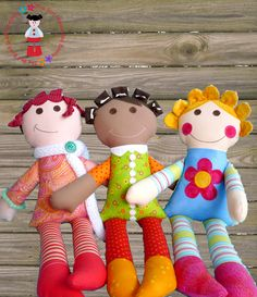 Cute fabric hair!  PDF DOLL PATTERN - Best Friends Dolls - by RedBoots on madeit