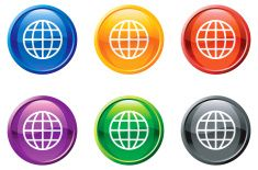 globe earth royalty free vector art button in 6 colors vector art illustration